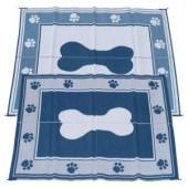 Fireside Patio Mats Doggy Blue 6 ft. x 9 ft. Polypropylene Indoor/Outdoor Reversible Patio/RV Mat