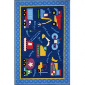 LA Rug Inc. Olive Kids Under Construction Multi Colored 19 in. x 29 in. Accent Rug