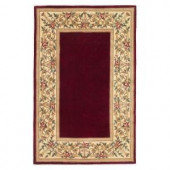 Kas Rugs Lush Floral Border Ruby 3 ft. 3 in. x 5 ft. 3 in. Area Rug