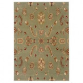 LR Resources Timeless Traditional Design in Green 7 ft. 9 in. x 9 ft. 9 in. Indoor Area Rug