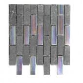 Splashback Tile Tectonic Brick Black Slate And Rainbow Black Glass Tiles - 6 in. x 6 in. Tile Sample