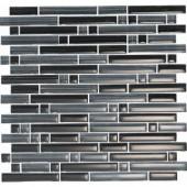 EPOCH Brushstrokes Nero-1501-S Strips Mosaic Glass Mesh Mounted - 4 in. x 4 in. Tile Sample
