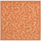Safavieh Courtyard Terracotta/Natural 7.8 ft. x 7.8 ft. Square Area Rug