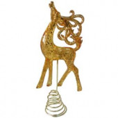 Snowberry 13 in. Gold Reindeer Tree Topper
