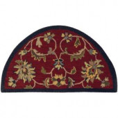 LR Resources Traditional Red and Navy 2 ft. 3 in. x 3 ft. 10 in. Half Moon Plush Indoor Area Rug