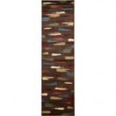 Nourison Rug Boutique Brush Strokes Chocolate 2 ft. 3 in. x 8 ft. Runner