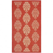 Safavieh Courtyard Red/Natural 2 ft. x 3.6 ft. Area Rug