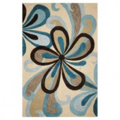 Kas Rugs Curvy Turns Sand/Teal 3 ft. 3 in. x 5 ft. 3 in. Area Rug