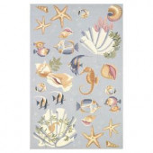 Kas Rugs Sea Life Blue 2 ft. 6 in. x 4 ft. 2 in. Area Rug