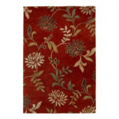 Kas Rugs Perfect Flowers Red 3 ft. 6 in. x 5 ft. 6 in. Area Rug