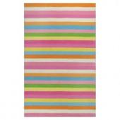 Kas Rugs Girls Stripe Pink/Ivory 3 ft. 3 in. x 5 ft. 3 in. Area Rug
