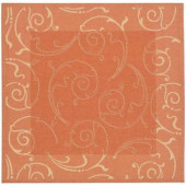 Safavieh Courtyard Terracotta/Natural 7 ft. 10 in. x 7 ft. 10 in. Square Area Rug