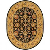 Safavieh Heritage Charcoal/Gold 4 ft. x 6 ft. Oval Area Rug