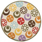 Momeni Caprice Collection Ivory 5 ft. x 5 ft. Round Area Rug