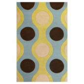 Kas Rugs Circle and Stripe Light Blue 2 ft. 3 in. x 3 ft. 9 in. Area Rug