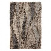 Kas Rugs Shag Finesse 2 Silver/Black 5 ft. x 7 ft. Area Rug