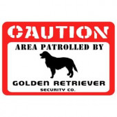 Bungalow Flooring Printed Caution: Golden Retriever 17.5 in. x 26.5 in. Pet Mat