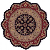 LR Resources Traditional Shape Black and Red 5 ft. Star Plush Indoor Area Rug