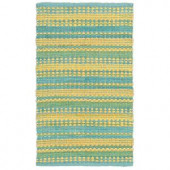 LR Resources Cotton Dhurry Blue and Yellow 5 ft. x 8 ft. Braided Indoor Area Rug