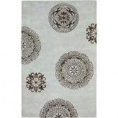 Rizzy Home Fusion Collection Sea Blue/Chocolate Brown 8 ft. x 10 ft. Area Rug