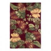 Kas Rugs Palm Bouquet Red 3 ft. 6 in. x 5 ft. 6 in. Area Rug