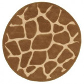 LR Resources Fashion Natural Giraffe 7 ft. 9 in. x 7 ft. 9 in. Round Plush Indoor Area Rug