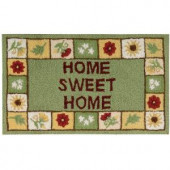 Home Sweet Home Green 18 in. x 30 in. Area Rug
