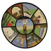 Safavieh VIntage Poster Assorted 5 ft. 6 in. x 5 ft. 6 in. Round Area Rug