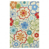 Kas Rugs Flowers at Play Ivory/Blue 2 ft. 3 in. x 3 ft. 9 in. Area Rug