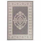 Home Decorators Collection Antique Medallion Gray and White 5 ft. 3 in. x 7 ft. 6 in. Area Rug