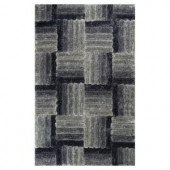 Kas Rugs Quilted Shag Grey/Black 3 ft. 3 in. x 5 ft. 3 in. Area Rug