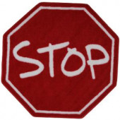 LA Rug Inc. Fun Time Shape Stop Sign Red and White 39 in. Round Area Rug