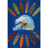 LA Rug Inc. Surf Time Surfer Dude Multi Colored 39 in. x 58 in. Accent Rug