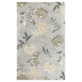 Kas Rugs Perfect Flowers Silver 3 ft. 6 in. x 5 ft. 6 in. Area Rug