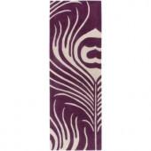 Chandra Thomaspaul Purple/Cream 2 ft. 6 in. x 7 ft. 6 in. Indoor Runner