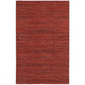 LR Resources Tribeca Red 5 ft. x 7 ft. 9 in. Reversible Wool Dhurry Indoor Area Rug