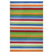 Kas Rugs Girls Stripe Blue/Red 7 ft. 6 in. x 9 ft. 6 in. Area Rug