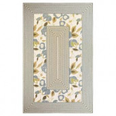 Kas Rugs Casual Floral Ivory/Blue 2 ft. 3 in. x 3 ft. 9 in. Area Rug