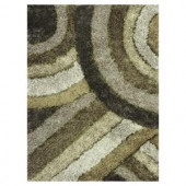 Kas Rugs Shag Finesse 13 Green/Grey 3 ft. 3 in. x 5 ft. 3 in. Area Rug