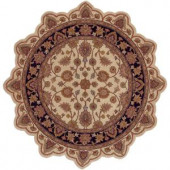 LR Resources Traditional Ivory/Black Star Shaped 5 ft. Plush Indoor Area Rug