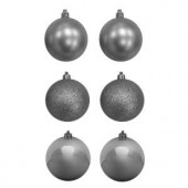 80 mm Silver Shatterproof Ornament (12-Count)
