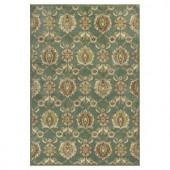 Kas Rugs Silky Tabriz Green/Cream 3 ft. 3 in. x 3 ft. 7 in. Area Rug