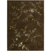 Nourison Rug Boutique Delicate Blossoms Brown 5 ft. 6 in. x 7 ft. 5 in. Area Rug