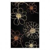 Kas Rugs Floral Art Black 3 ft. 6 in. x 5 ft. 6 in. Area Rug
