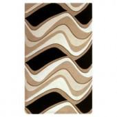Kas Rugs Abstract Waves Black/Beige 2 ft. 3 in. x 3 ft. 9 in. Area Rug