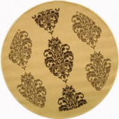Safavieh Courtyard Natural/Brown 6.6 ft. x 6.6 ft. Round Area Rug