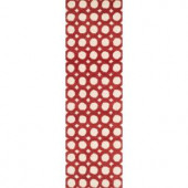 Loloi Rugs Weston Lifestyle Collection Ivory Red 2 ft. 3 in. x 7 ft. 6 in. Runner