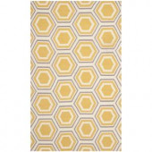 Safavieh Dhurries Ivory/Yellow 4 ft. x 6 ft. Area Rug