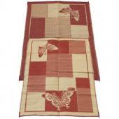 Fireside Patio Mats Elegant Butterfly Burgundy and Coral 6 ft. x 9 ft. Polypropylene Indoor/Outdoor Reversible Patio/RV Mat