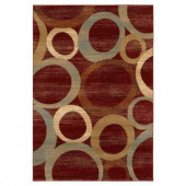 Lavish Home Sphere Vision Red and Beige 5 ft. x 7 ft. 3 in. Area Rug